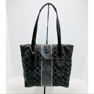 Coach Black Fabric and Snake Skin Purse